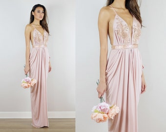 Blush Beaded Bridesmaids Dress, Blush Gown, Embellished blush dress,