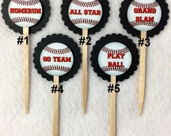 Set Of 12 Personalized Baseball Cupcake Toppers