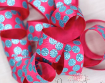 "7/8"" Shocking Pink/Turquoise Glitter Dots Grosgrain Ribbon - 1yd"