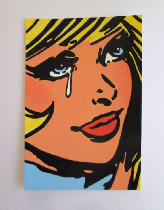 Original Acrylic Postcard size Painting Pop Art Blonde Comic Girl crying size 6 x 4 inches