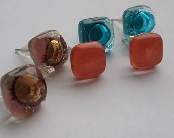 Stud earrings. Fused glass earrings. Three pairs of recycled glass post earrings.
