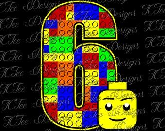 Lego 6 - 6th Birthday - Lego Birthday SVG Design Download - Vector Cut File