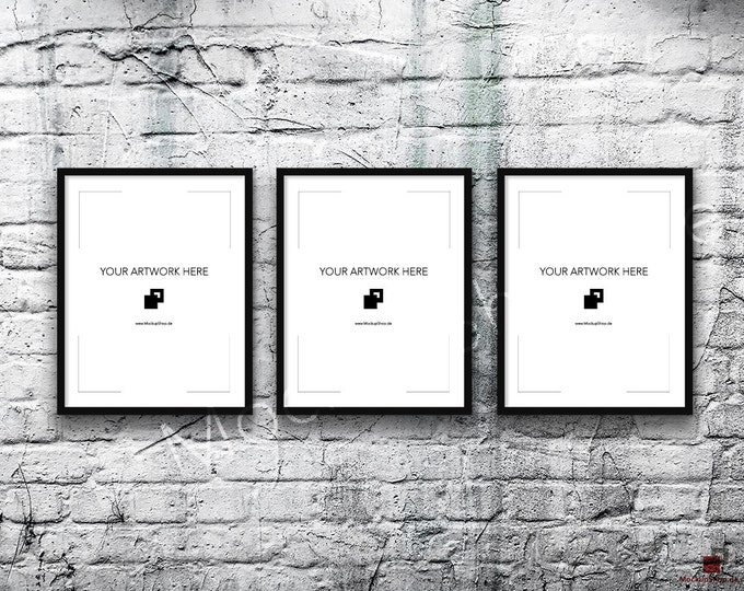 11x14 Set of 3 FRAME MOCKUP BLACK / Poster Mockup, old brick grey wall, Framed Art, Instant Download / Frame Mockup