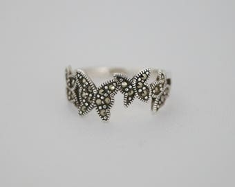 Vintage Sterling Silver Marcasite Ring - Vintage Silver Butterfly Ring - Vintage Marcasite - Vintage Ring - Vintage Silver Ring  R or 8 3/4