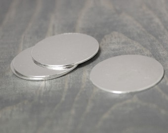Sterling Silver Stamping Blank, 10 Pack, 1 Inch Disc, 20 Gauge Silver, 25mm Disc, Silver Round, Silver Blank, Stamping Supplies, Blanks