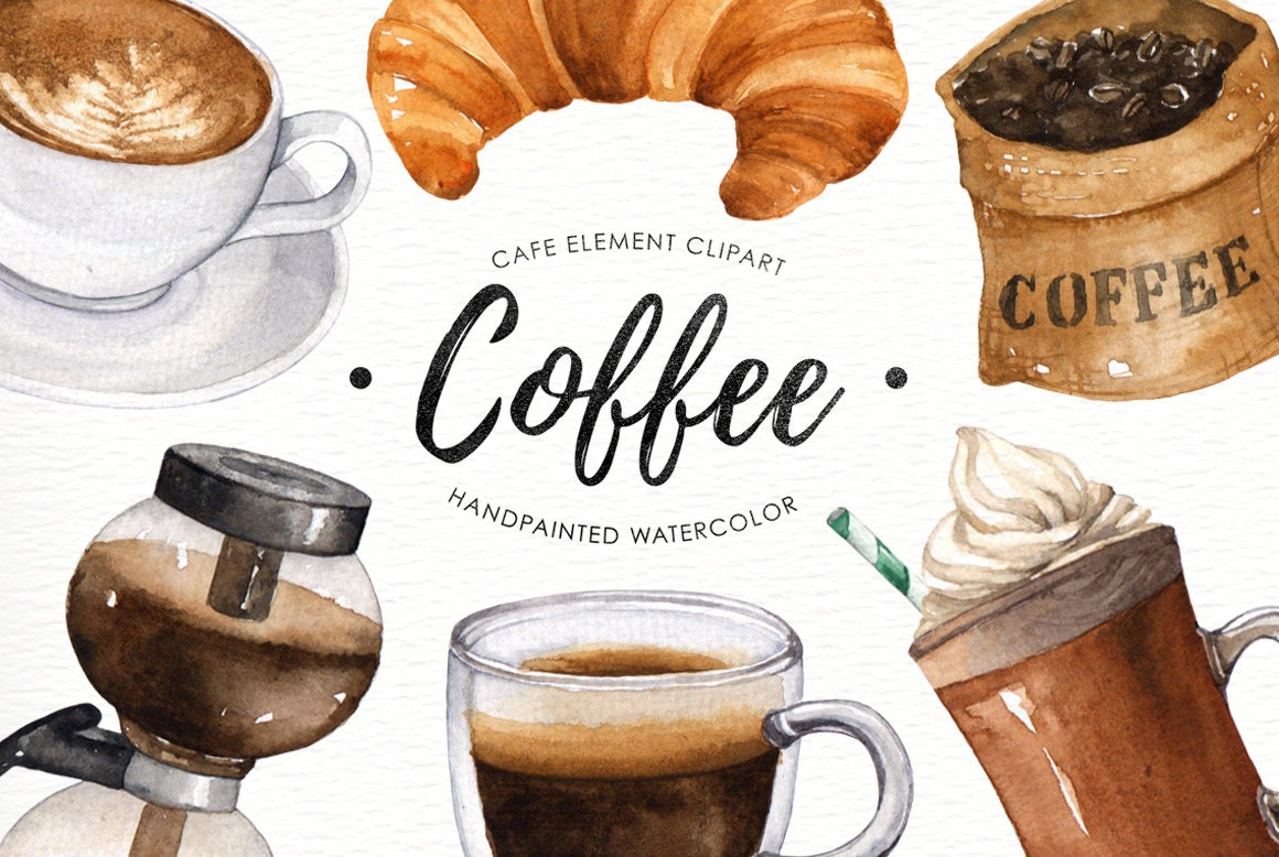 Coffee watercolor clipart Cafe clipart Food Watercolor