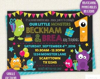 Monster party, monster party invite, monster party invitation, monster Birthday, monster birthday party, monster theme, Twin invitation