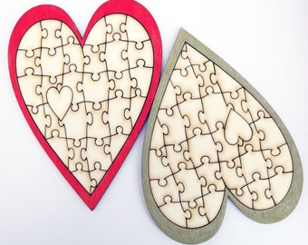 Heart Puzzle A5 Size Laser Cut Gift
