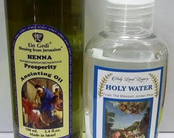 Henna Prosprity Anointing Oil 100 ml,3.4fl.oz From Holyland Jerusalem and Jordan river holy water 50 ml,1.7 oz