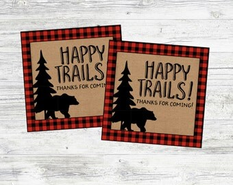 Happy Trails Favor Tag for Lumberjack Party or Baby Shower. Great for Trail Mix Bar. Instant Digital Download. Lumberjack, Winter, Mountain