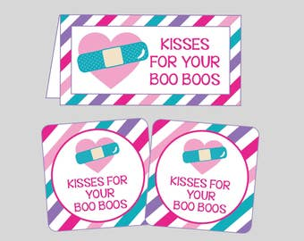 Kisses For Your Boo Boos Tag & Bag Toppers for Doctor Party. Instant Digital Download. Doctor Party Favor Tags. Doc, Doctor, Nurse Party