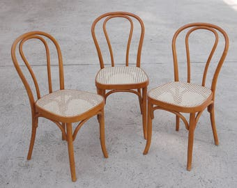 Bentwood Thonet Style Vintage Dining Chair Set Of Three Cafe Bistro Curved  Wood Classic 1970s Modern