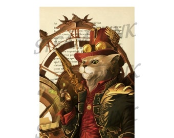 """POSTER... POSTER art print """"Cat 4 STEAMPUNK"""" clipart table 20 x 29 cm"""