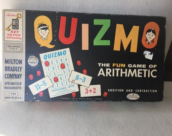 CLEARANCE Vintage 1958 Quizmo game - Math arithmetic bingo