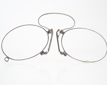 Antique Blue Spring Bridge Pince Nez Glasses