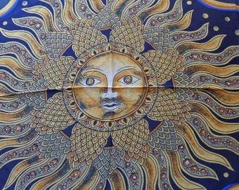 Vintage Christina 100% Silky Bright Color Huge Sun Solar type Women's Fashion Scarf  32 x 32 Beautiful