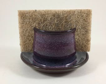 Pottery Sponge Holder, Ceramic Sponge Holder, Stoneware Sponge Holder, Handmade, Ready to Ship, Purple Sponge Caddy