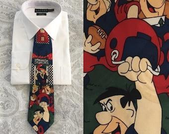 Flinstone Silk Tie, 1990s Silk Tie, Cartoon Neckwork, Vintage Necktie, Vintage Tie, Fred Flinstone, Barnie, Yogi, Jetsons, Football Tie