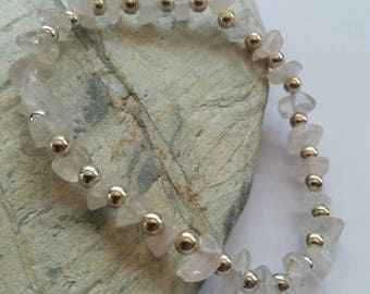 Rose Quartz & Sterling Silver Beaded Stretchy Bracelet, Trendy Gemstone Bracelet, Birthstone Jewellery, Uk Seller.