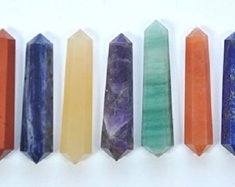 WholesaleGemShop -Double Terminated Chakra Wand Set with Free Shipping
