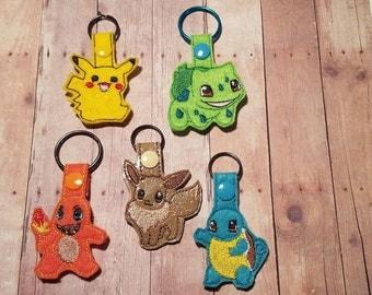 Pokey Key Chain, Monster Key Chain, Pokemon Keyfob, Charmander Keyfob, Bulbasaur, Pokey OG Key Chain, Pika key fob, Pokemon Key Chain