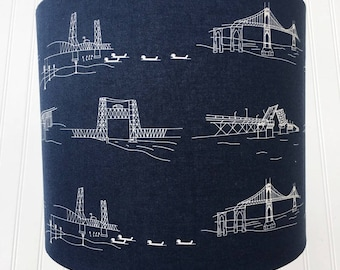 HANDMADE BRIDGES Drum LAMPSHADE Lamp Shade Featuring Different Style Bridges White on Navy Blue Background Drawbridge Suspension Engineering