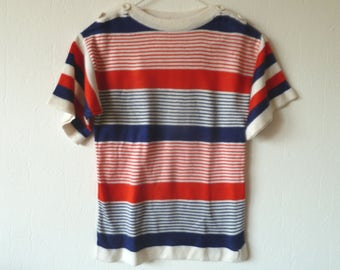 Cute 60s sailor vintage top xs