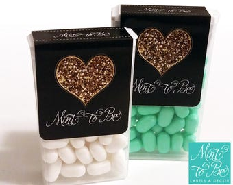 SALE! Mint to be labels for tic tac favors! Gold Glitter Heart. Wedding favors. Semi-gloss paper labels with 2 perforated lines.