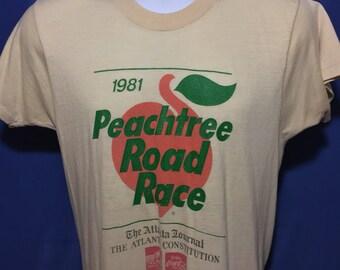 Vintage 1981 Peachtree Road Race t shirt thin soft Atlanta Georgia *S/M