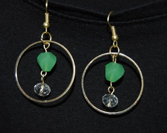 Green and Crystal Glass Bead Hoop Earrings