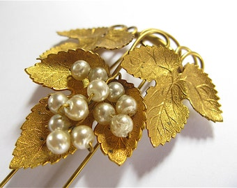 Antique Late Victorian Gilded Metal Grapevine Hair Adornment with Glass Pearls