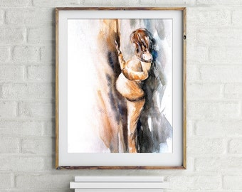 Maternity art print, watercolor painting print, pregnant woman near the window, wall art
