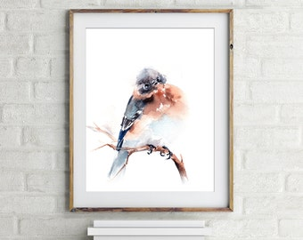 Bird Print, Blue Bird Painting, Watercolor Print, Bird Art, Watercolor Painting of bird, wall art