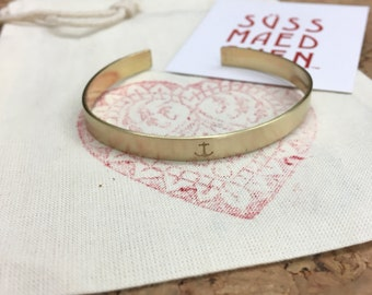 Anchor bracelet * hand stamped * brass or copper * bracelet * love * wedding *