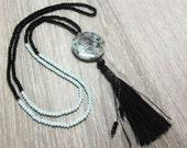 Long black tassel necklac...