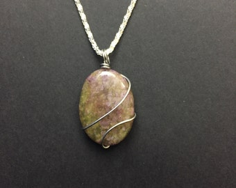 Wire Wrapped Oval Stone Necklace