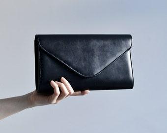 Black Clutch Purse, Matte black clutch for women, black handbag black evening bag