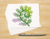 Fiddlehead Fern Card - Set of 6 Block Printed Cards - Spring Sprouts - READY TO SHIP