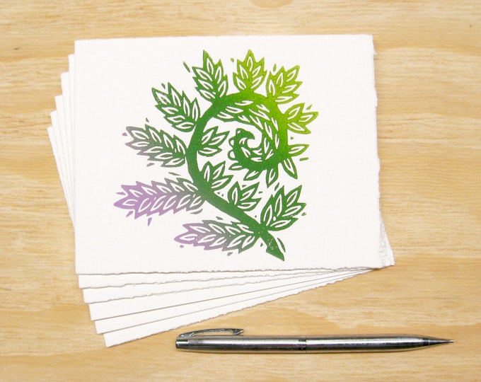 Featured listing image: Fiddlehead Fern Card - Set of 6 Block Printed Cards - Spring Sprouts - READY TO SHIP