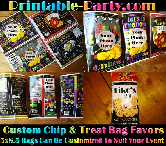 printable custom chip bags custom treat bags personalized favor bags by printable party. Black Bedroom Furniture Sets. Home Design Ideas