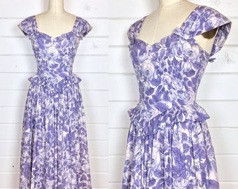 Vintage 1980s-does-40s Purple Floral Day Dress / Made by Laura Ashley / Full Skirt / Peplum Waist / Sundress