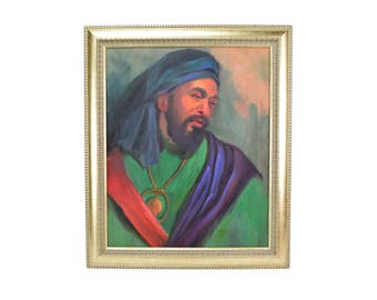 Vintage Mid Century Oil Painting Arab Middle Eastern Man Portrait