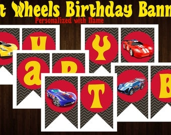 Banner | Hot Wheels | Print or Digital | Birthday Party | Customizable | with Name