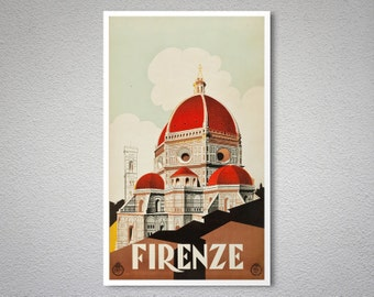 Firenze Vintage Travel Poster - Poster Print, Sticker or Canvas Print