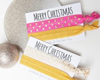 Christmas Hair Ties - Handmade Hair Ties - Stocking Filler -  Secret Santa - Hair Band Bracelet - Christmas Gifts For Her - Secret Santa