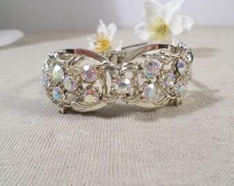 Beautiful Vintage Gold Tone Crystal AB Rhinestone Clamper Bracelet  DL#2421