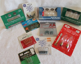 Collection of 10 Packages of Christmas Light Replacement Bulbs