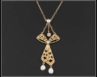 Antique Bow Necklace | Antique 14k Gold Necklace by Krementz | Enamel Diamond and Pearl Necklace | Antique Necklace | Bridal Necklace