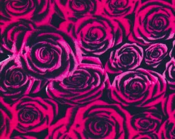New! Roses galore Fuchsia pink! Double Brushed poly lycra knit fabric