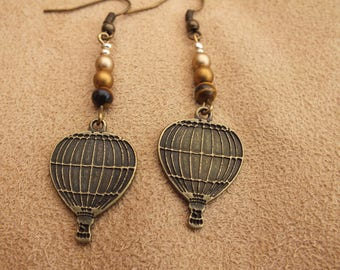 Hot air balloon earrings, balloon earrings, bronze earrings, tiger eye earrings, gold earrings